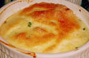 Pecorino Cheese Souffle with Carmelized Vegetables