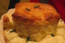 Goat Cheese Souffle with Red Peppers and Chanterelles